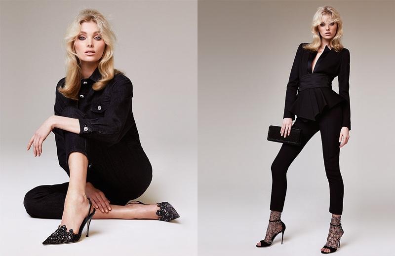 Dressed in black, Elsa Hosk fronts Rene Caovilla spring-summer 2019 campaign
