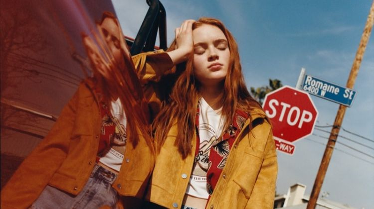 Sadie Sink rocks fringed jacket, graphic tee and denim shorts from Pull & Bear collaboration