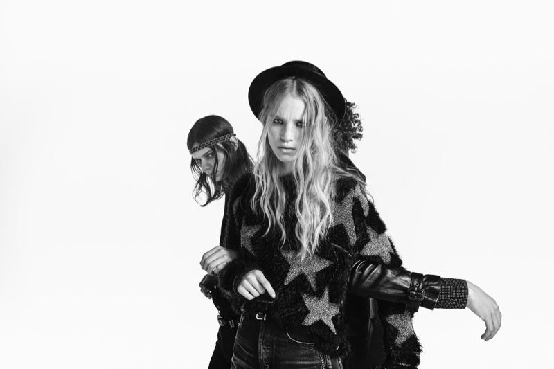 Rebecca Leigh Longendyke and Rai Langlois star in Saint Laurent Denim campaign