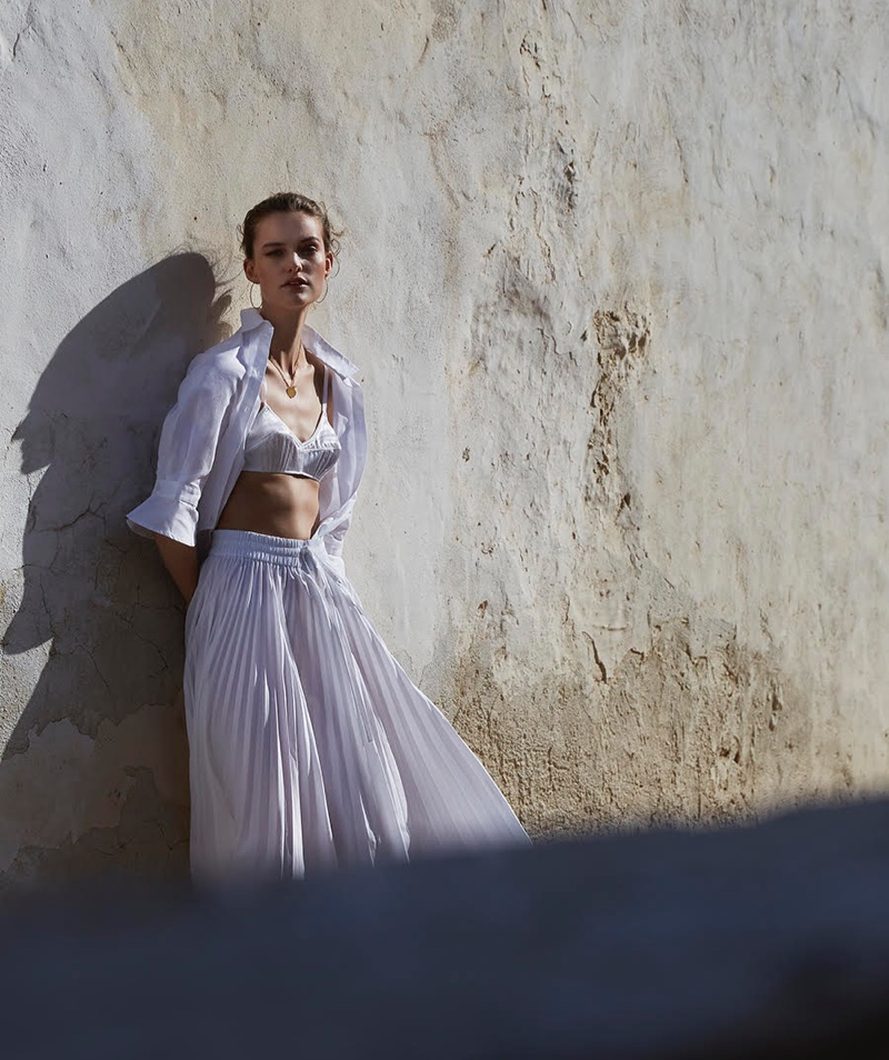 Sara Van der Hoek Poses in Summer Whites for Marie Claire Netherlands