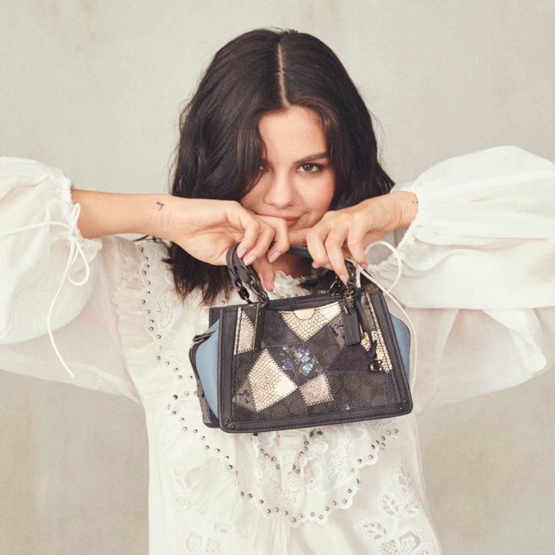 Selena Gomez shows off Coach's patchwork inspired designs