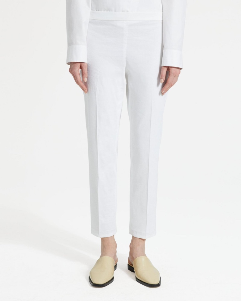 Theory Good Linen Basic Pull-On Pant in White $275