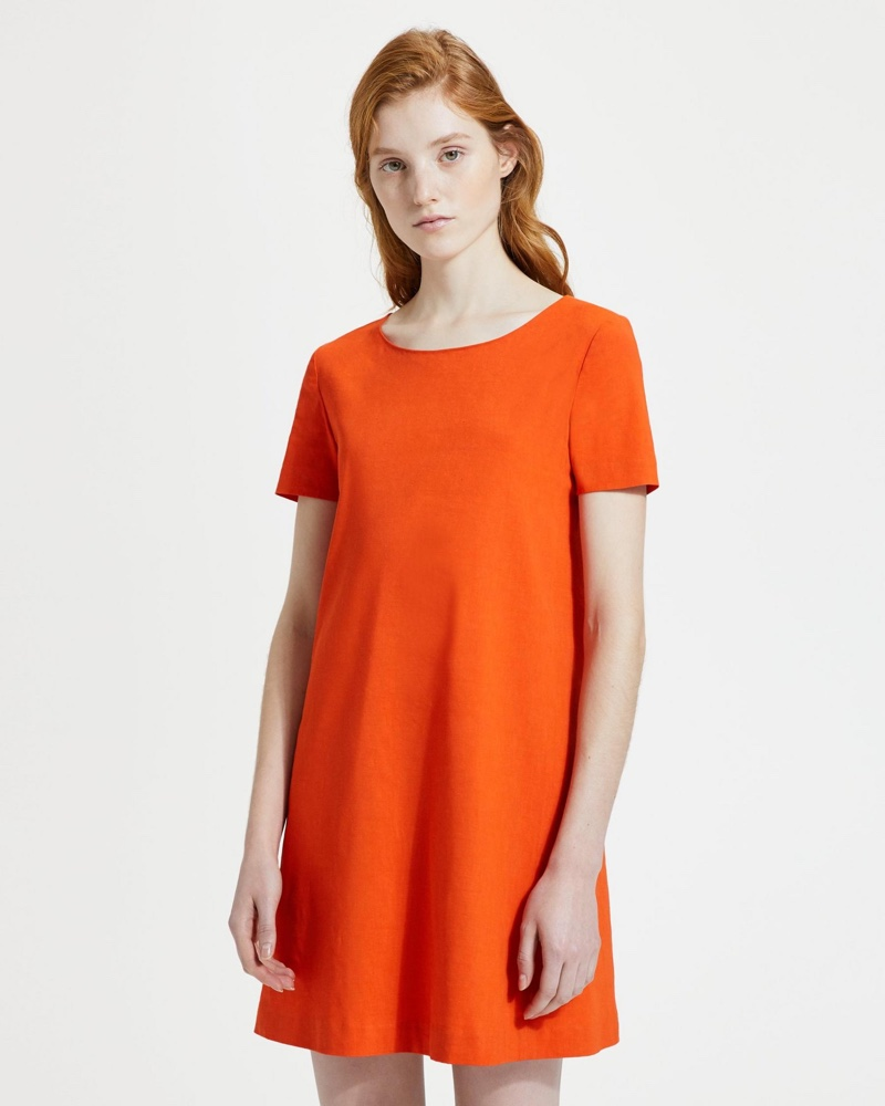 Theory Good Linen Panel Shift Dress in Fire Opal $355