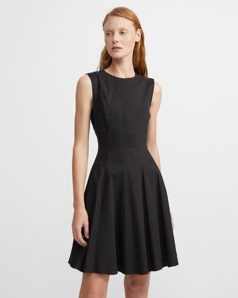 Theory Good Linen Sleeveless Dress in Black $375