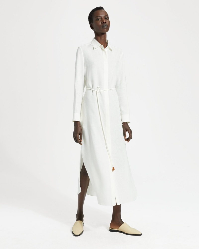 Theory Pure Linen Belted Shirtdress $435