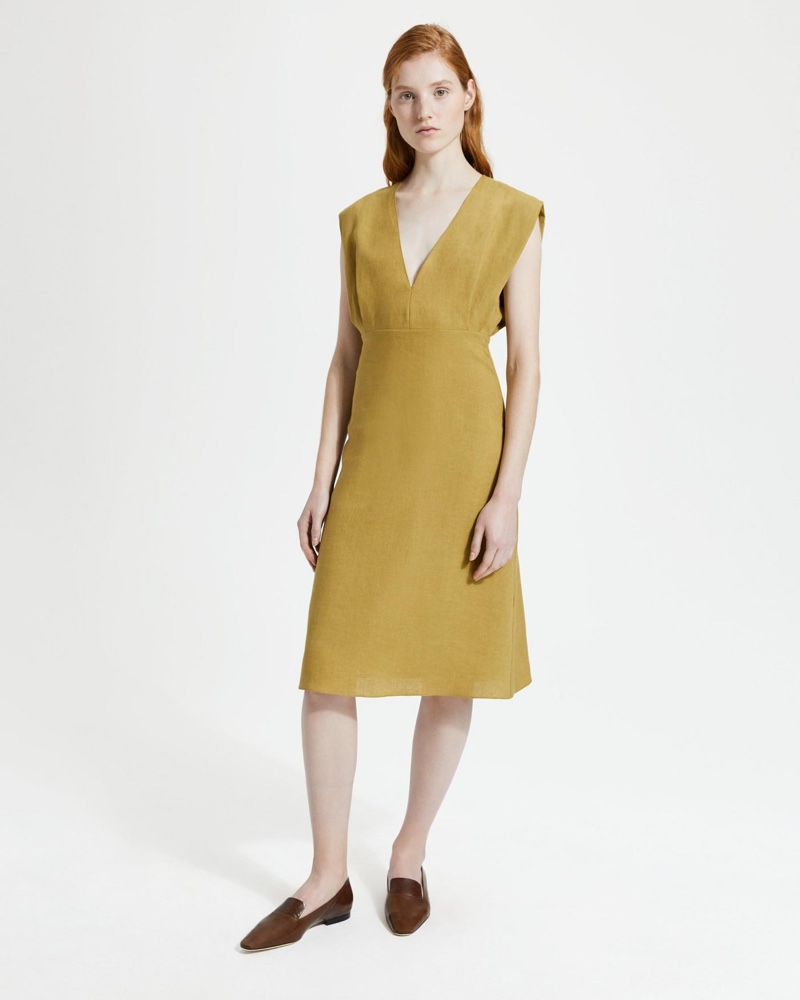 Theory Pure Linen Deep V Easy Midi Dress in Gold Moss $395
