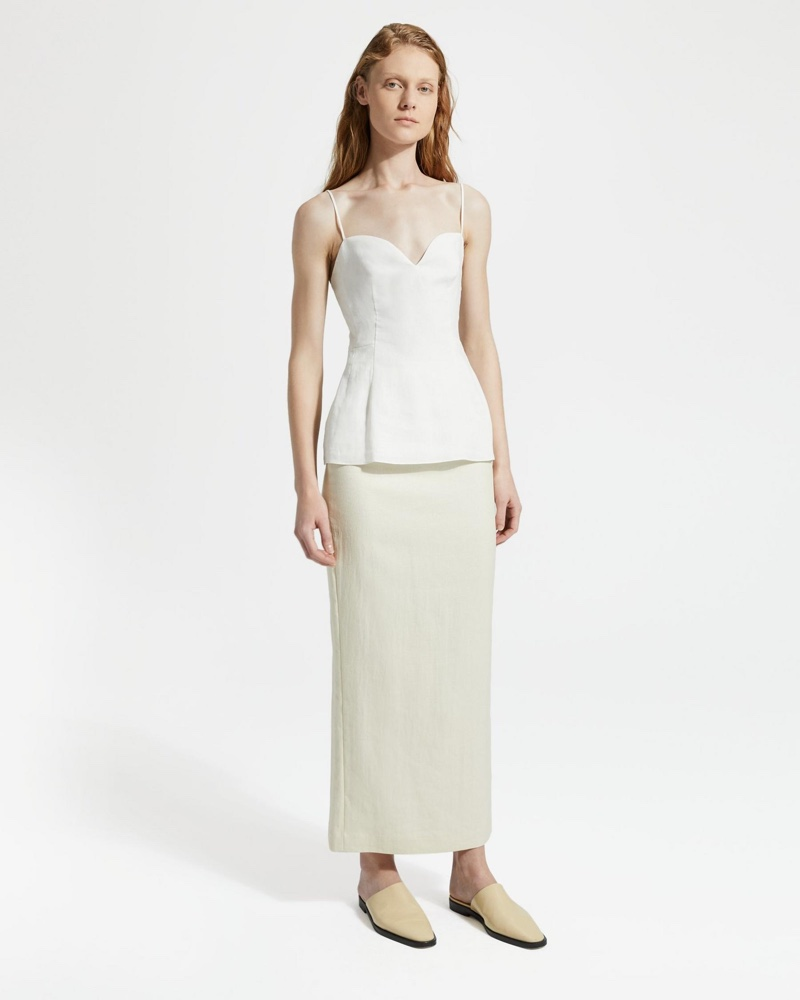 Theory Pure Linen Sweetheart Top $255