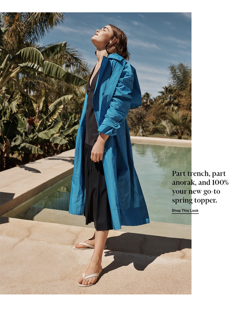 Tibi Windbreaker Trench $995, Deep V Neck Halter Dress $650 and Bryan Flip Flops $195