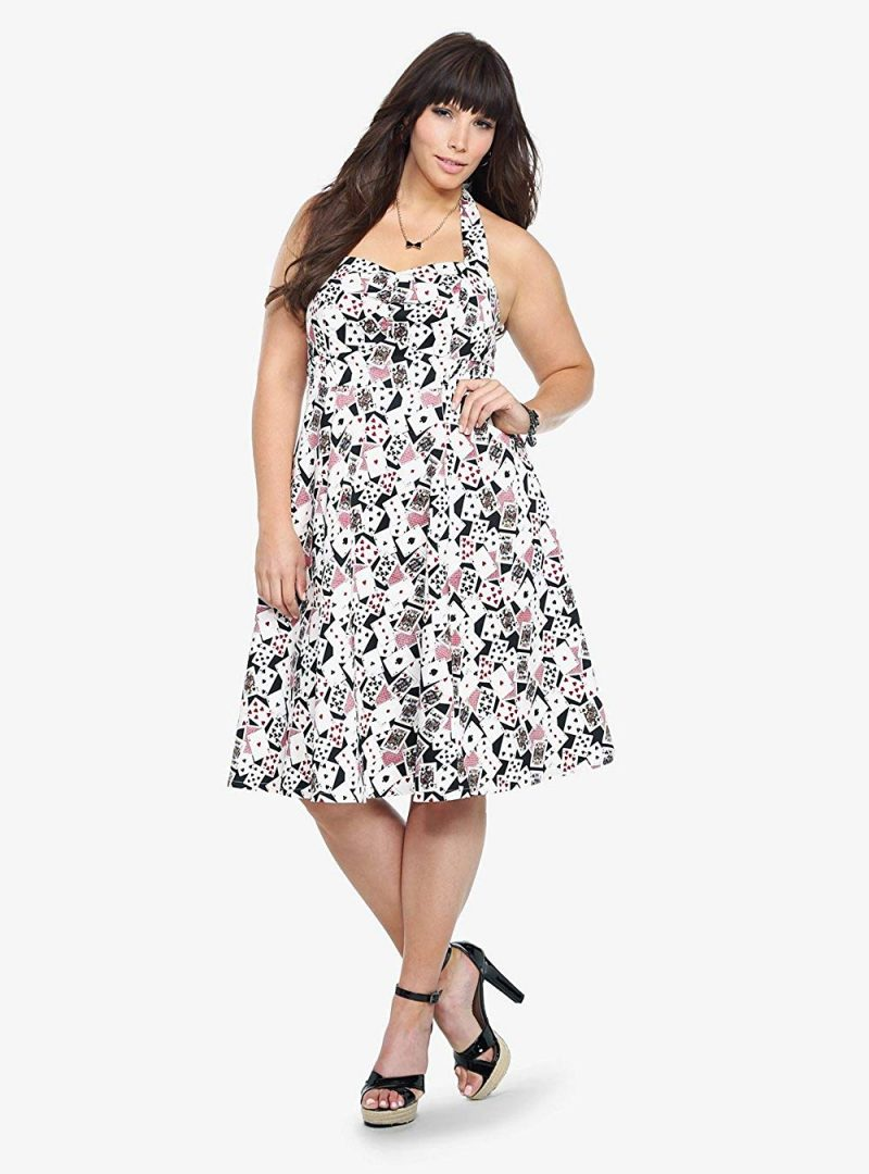 Torrid Retro Playing Card Print Halter Dress