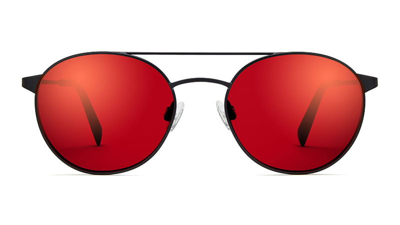 Warby Parker Fisher Sunglasses in Brushed Ink with Mirrored Crimson Lenses $145