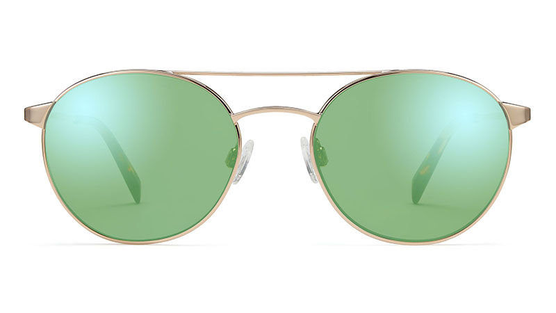 Warby Parker Fisher Sunglasses in Gold with Mirrored Light Green Lenses $145