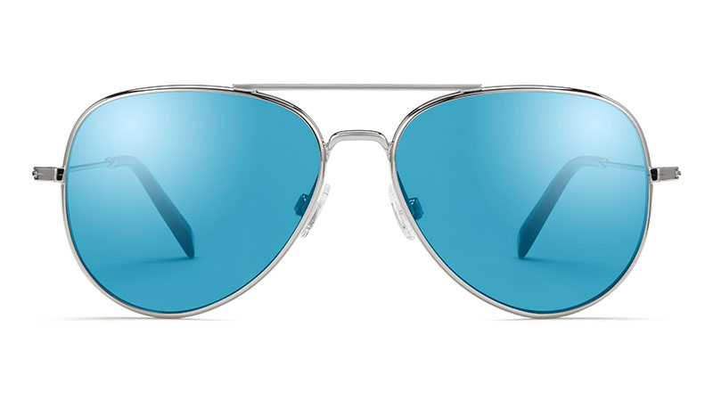 Warby Parker Raider Sunglasses in Silver Mirrored with Light Blue Lenses $145