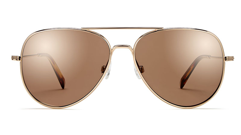 Warby Parker Raider Wide Sunglasses in Gold with Mirrored Gold Lenses $145