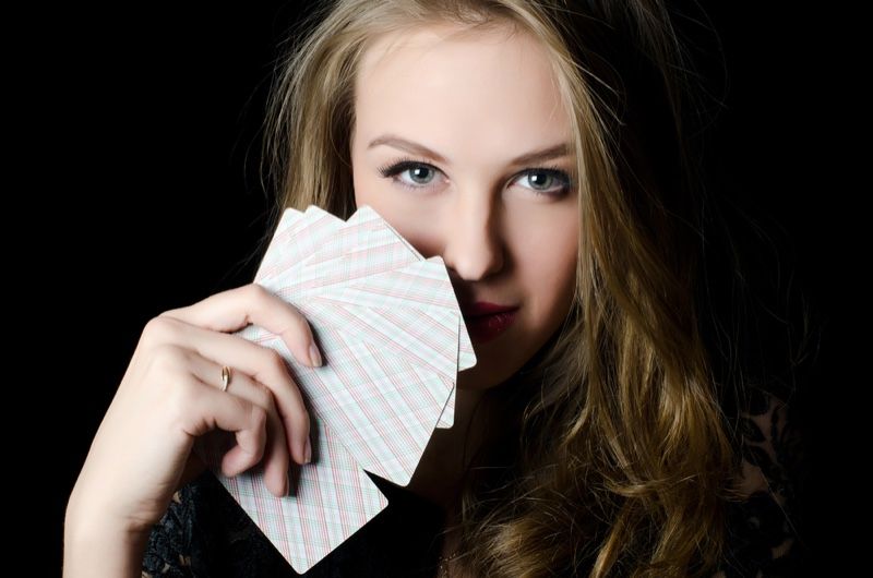 Attractive Woman Face Poker Cards