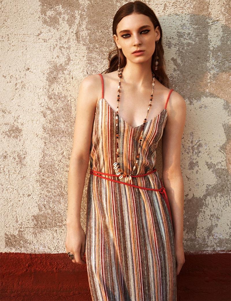 Zara Colorful Striped Print Dress
