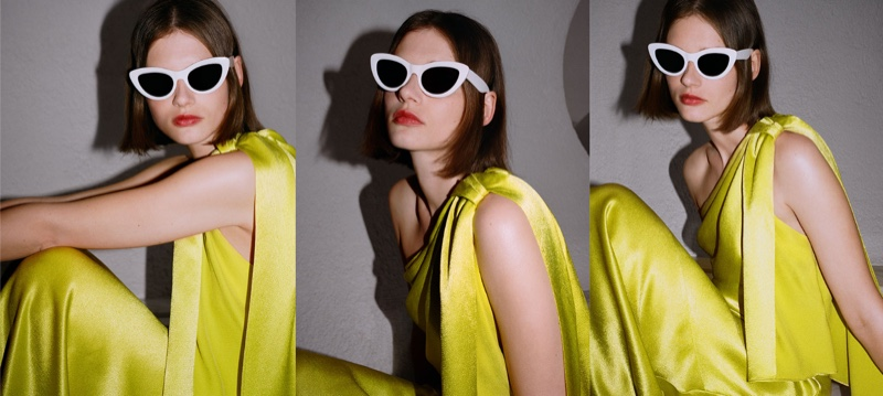 Zara Limited Edition Single Shoulder Dress and Cat Eye Sunglasses