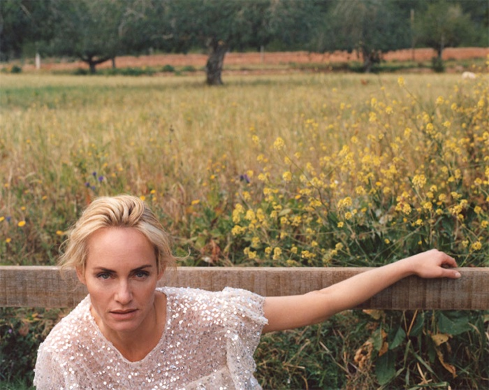 Amber Valletta poses in sparkly top from Zara spring 2019 collection