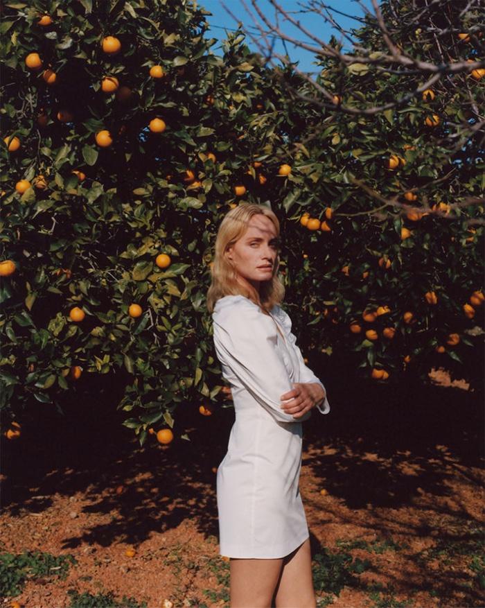 Amber Valletta models Zara poplin dress with balloon sleeves