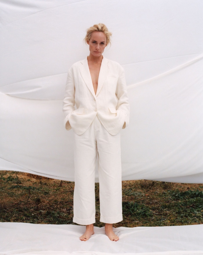Suiting up, Amber Valletta wears Zara oversized linen jacket and magnum pant jeans