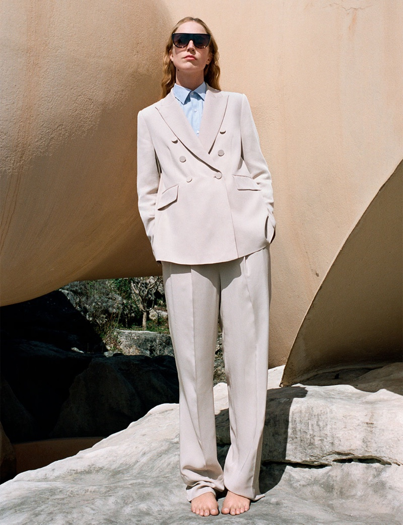 Zara Double Breasted Buttoned Blazer and Wide Leg Pants with Darts