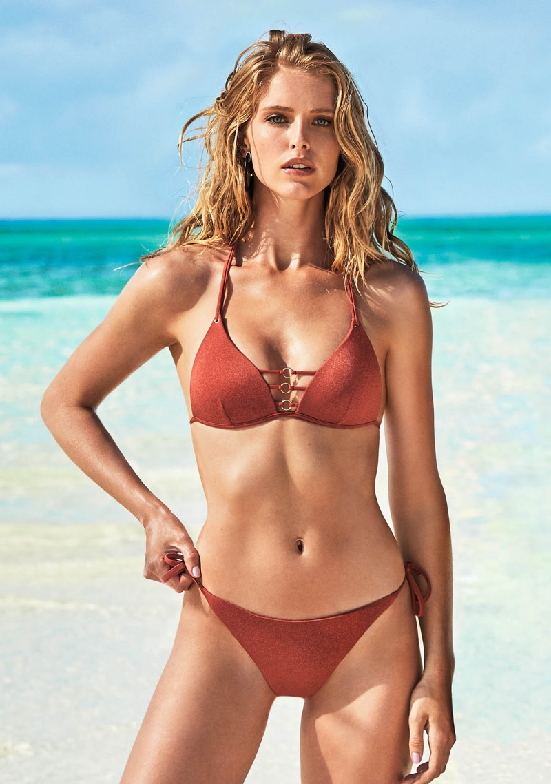 Flaunting her bikini body, Abbey Champion appears in Calzedonia summer 2019 campaign