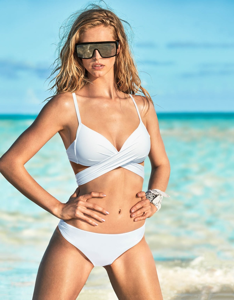 Looking white-hot, Abby Champion fronts Calzedonia Swim summer 2019 campaign