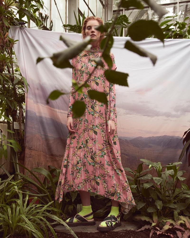 Alexina Graham Embraces Floral Fashion in Marie Claire Czech