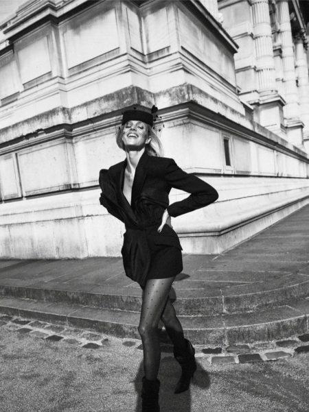 Anja Rubik Poses in Dark Fashions for Vogue Paris