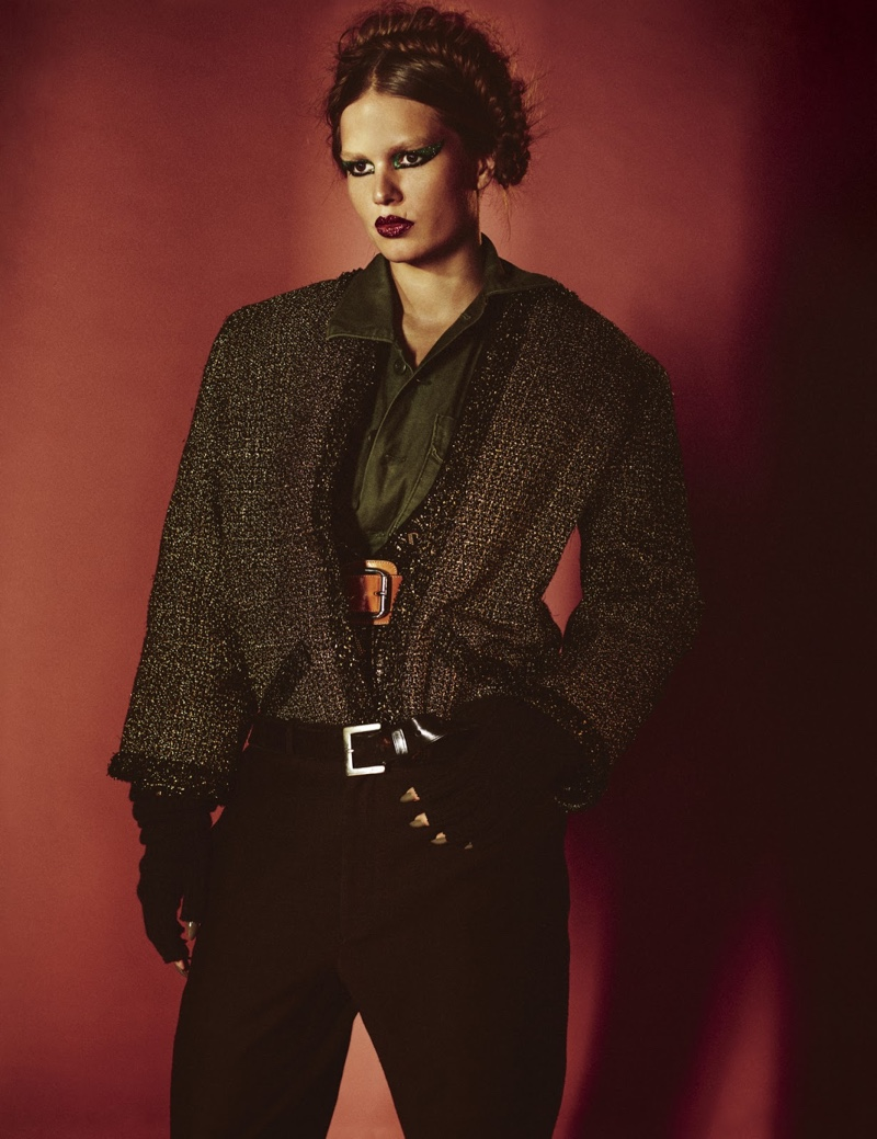 Anna Ewers Poses in Statement Pants for W Magazine