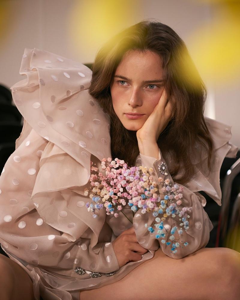 Anna de Rijk Models Romantic Fashions for Vogue Taiwan