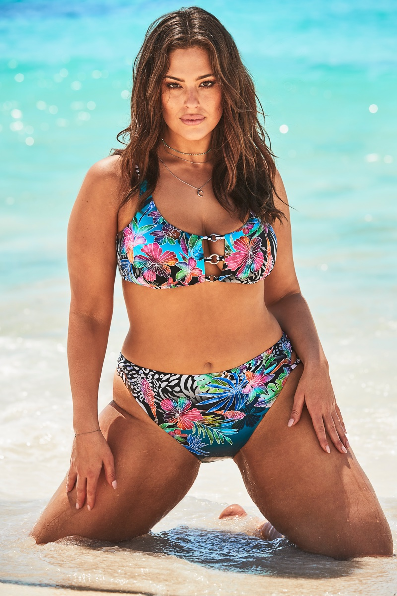 Embracing floral print, Ashley Graham appears in Swimsuits For All campaign