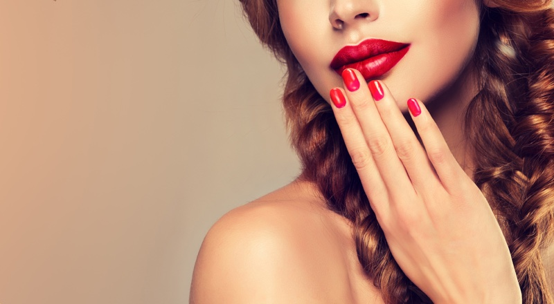 Beauty Makeup Model Red Lips Manicure