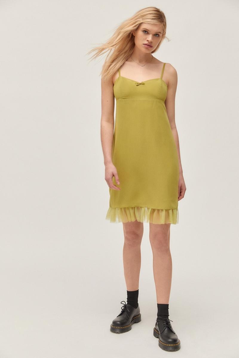 Betsey Johnson x UO Mesh Trim Mini Dress $79
