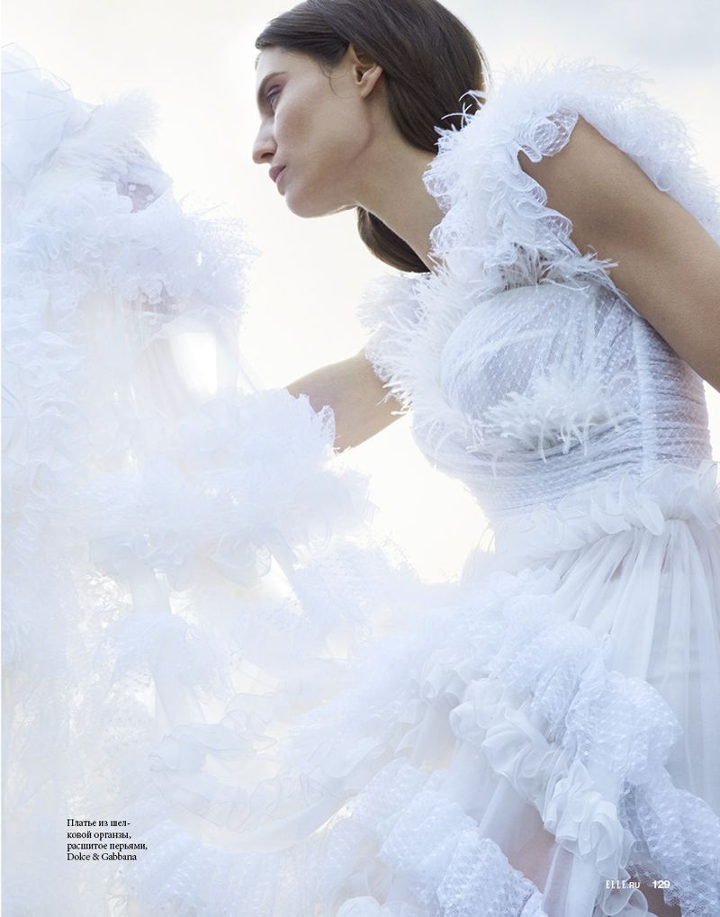 Bianca Balti Models Romantic Dresses for ELLE Russia