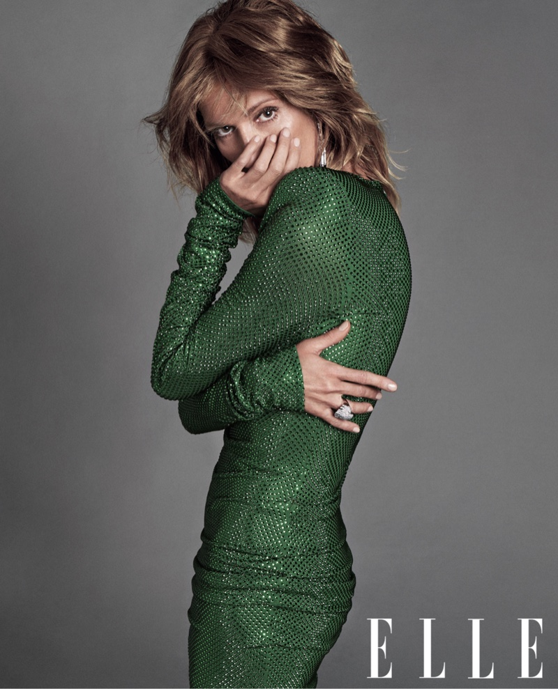 Singer Celine Dion wears Alexandre Vauthier Couture green dress