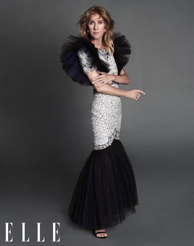 Celine Dion sparkles in Chanel Haute Couture gown with Chanel ring and René Caovilla sandals