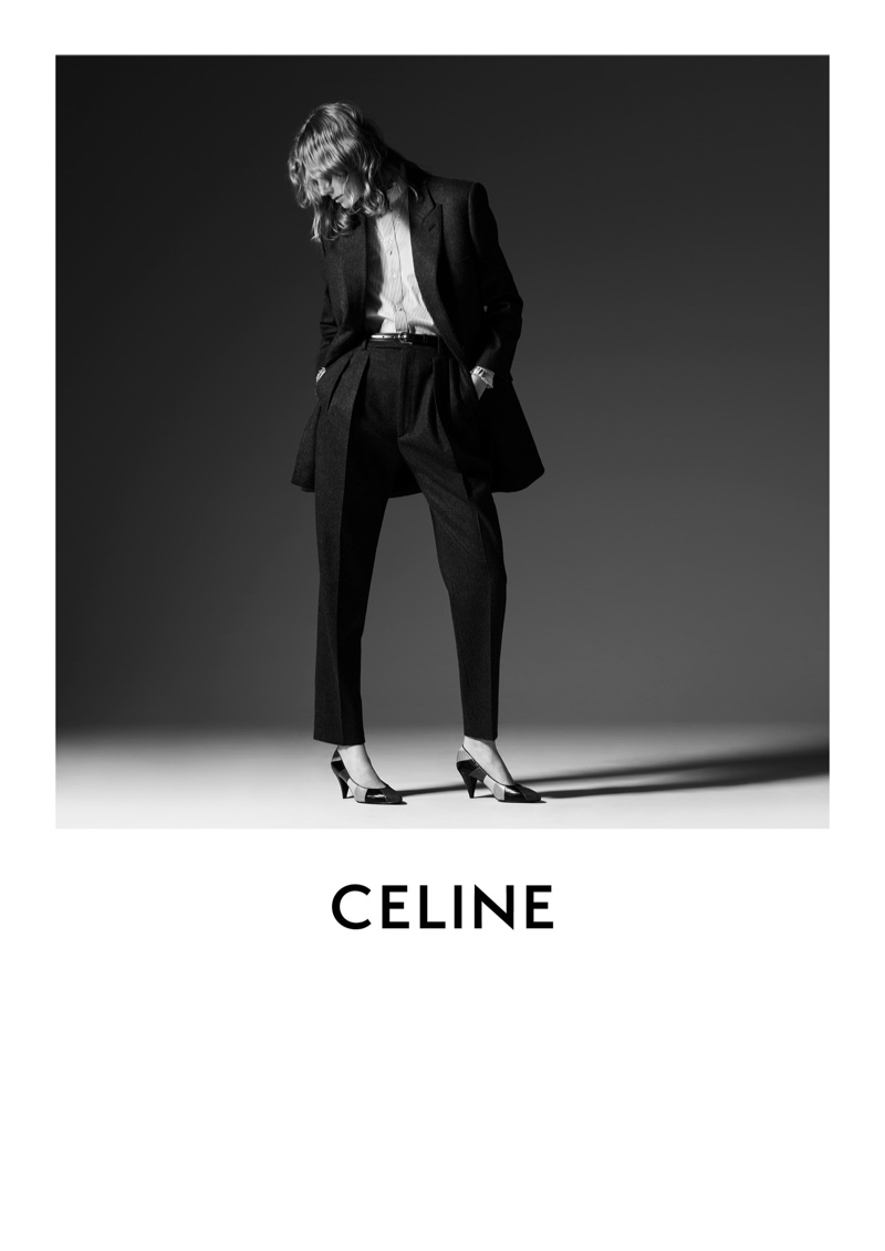 Suiting up, Marland Backus appears in Celine fall-winter 2019 campaign