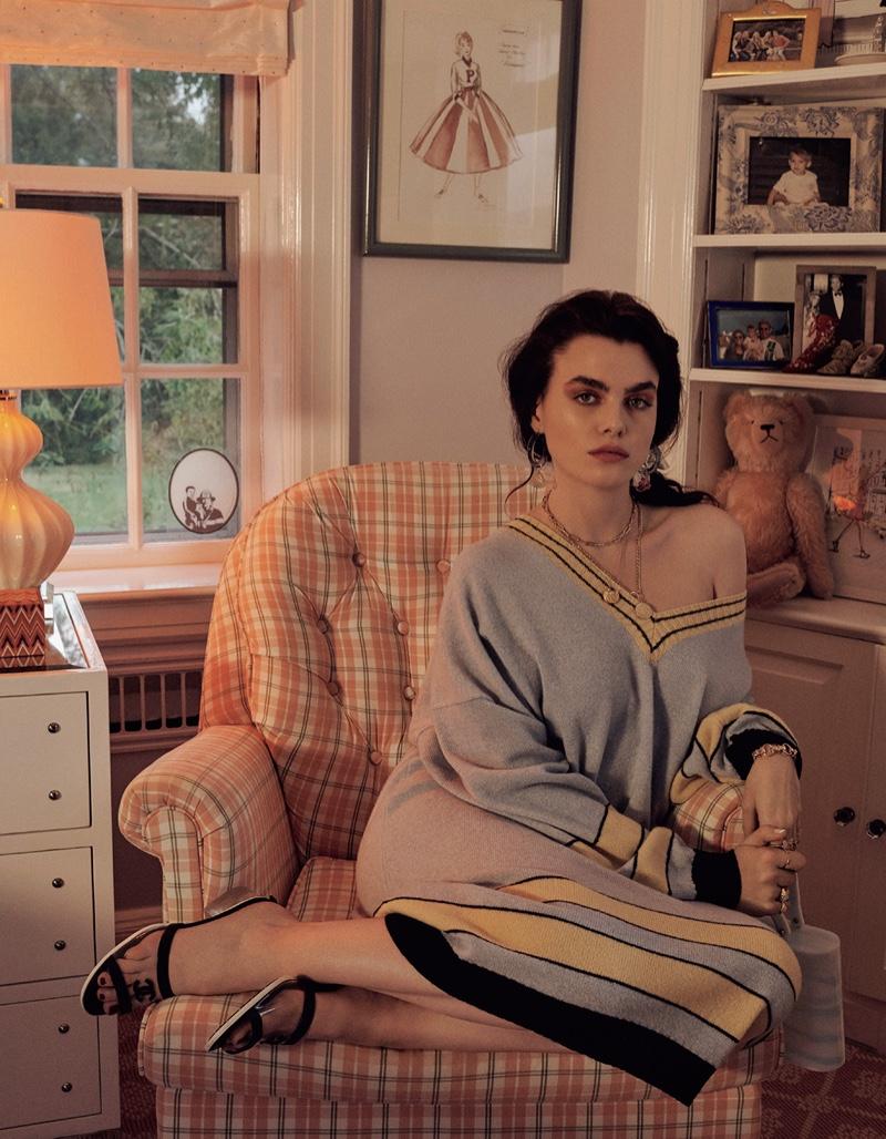 Charli Howard Embraces A Retro Wardrobe for Vogue Japan