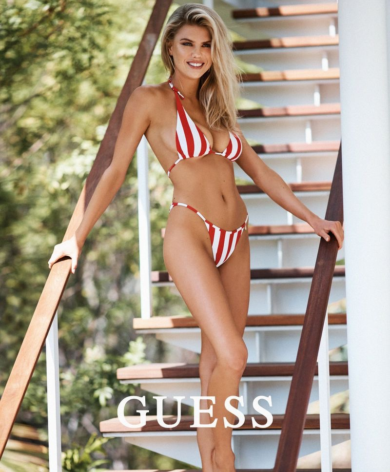 Model Charlotte McKinney wears swimsuit collaboration with Guess
