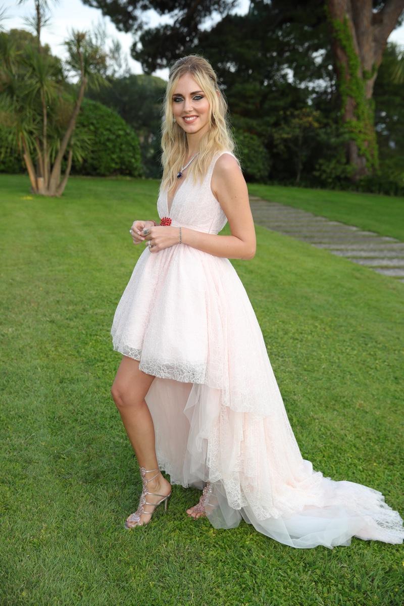 Chiara Ferragni wears dress from Giambattista Valli x H&M collaboration.