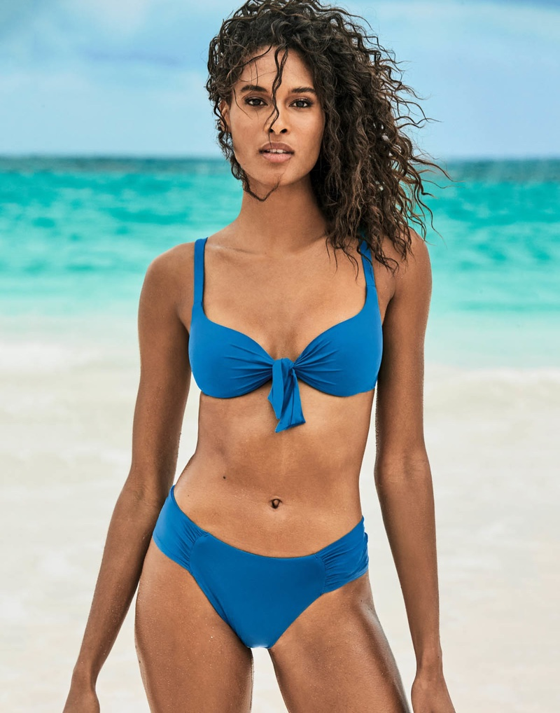 Rocking a blue bikini set, Cindy Bruna fronts Calzedonia Swim Summer 2019 campaign