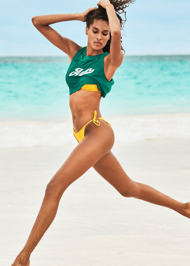 Taking a leap, Cindy Bruna fronts Calzedonia Swim Summer 2019 campaign