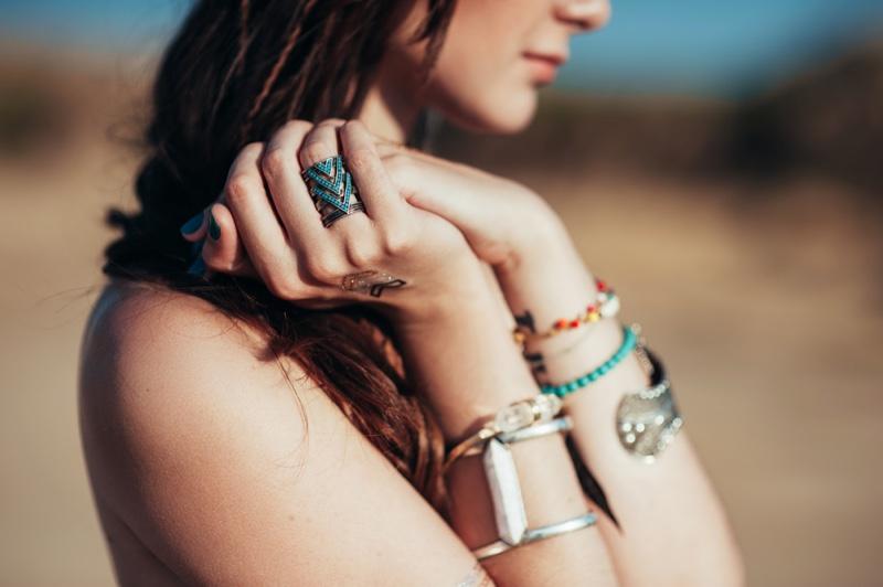 Closeup Model Jewelry Beach Ring Bracelets