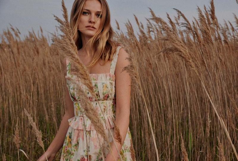 Embracing florals, Edita Vilkeviciute wears the Brock x MyTheresa collection