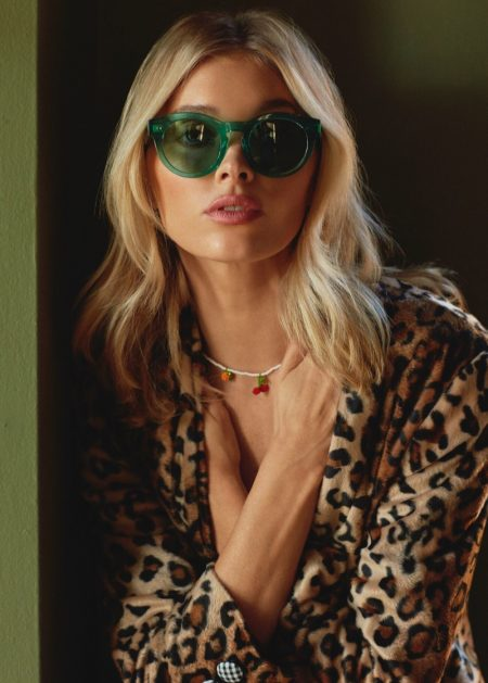 Wearing green sunglasses, Elsa Hosk fronts Chimi Eyewear campaign