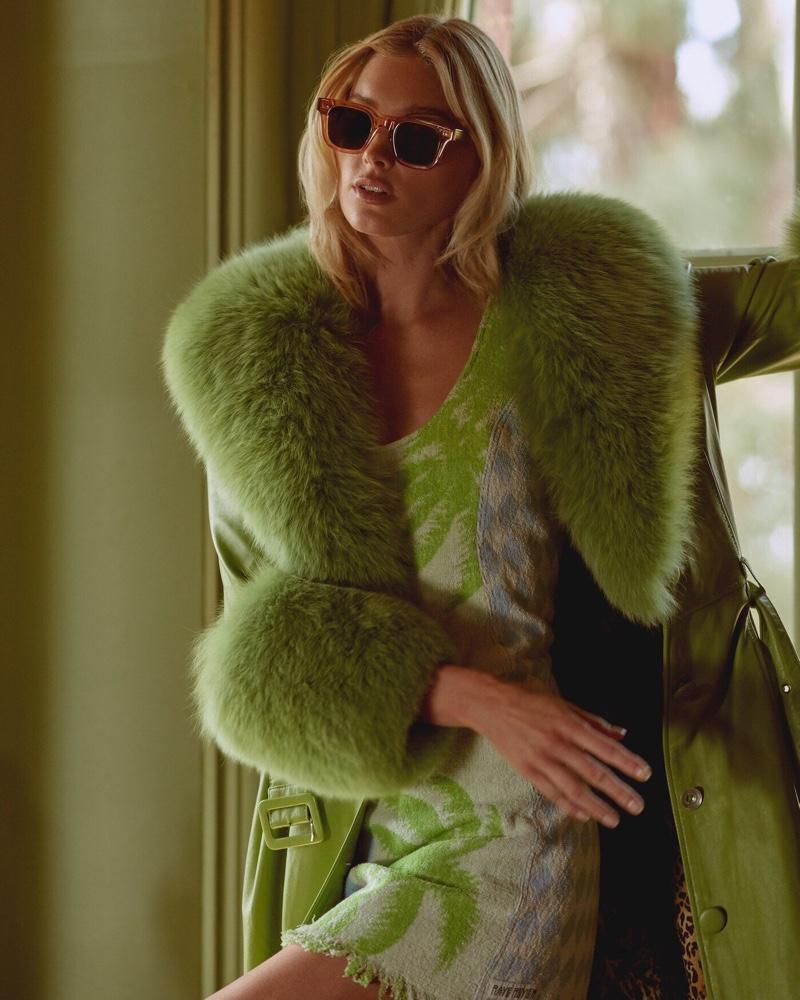 Dressed in green, Elsa Hosk stars in Chimi Eyewear campaign