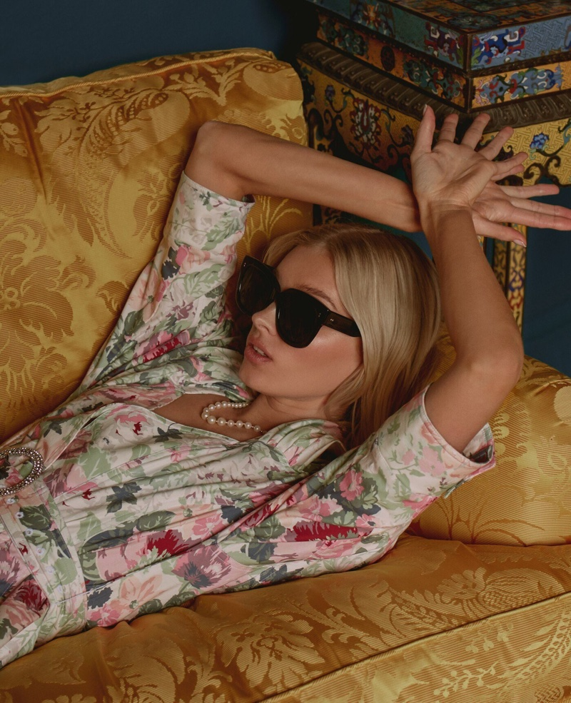 Dressed in florals, Elsa Hosk is the face of Chimi Eyewear's season 4 collection