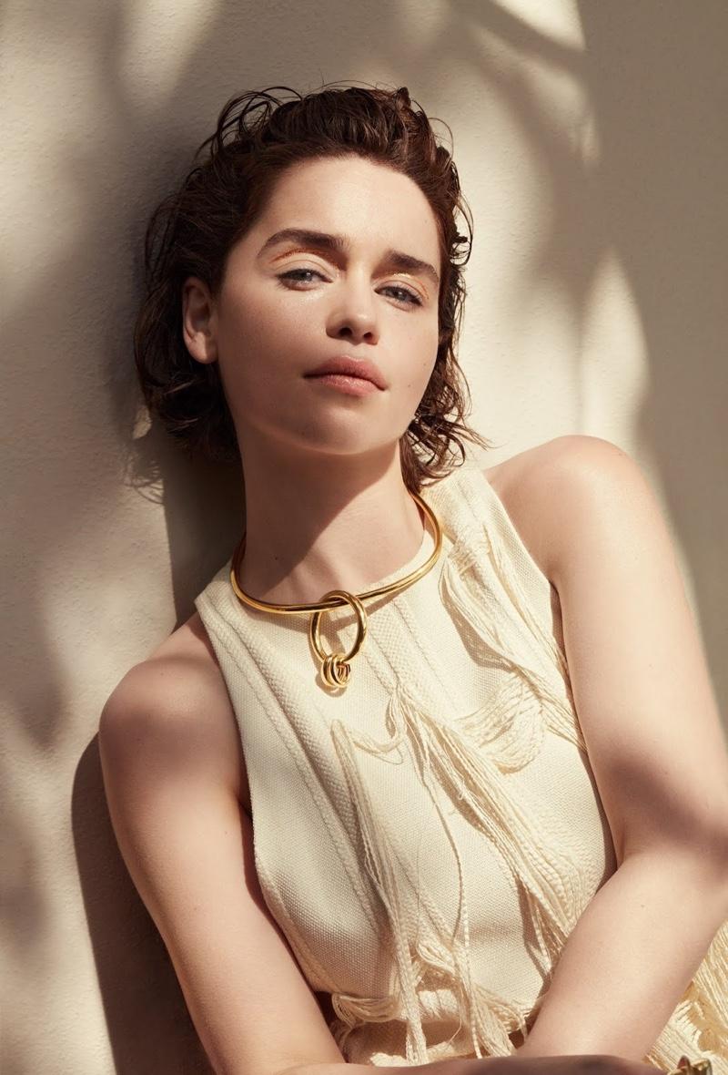 Emilia Clarke wears Marina Moscone dress and Bottega Veneta necklace