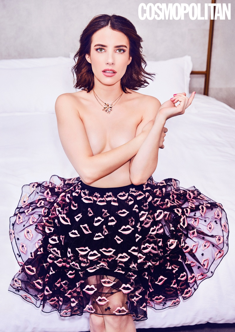 Going topless, Emma Roberts models lip-print skirt