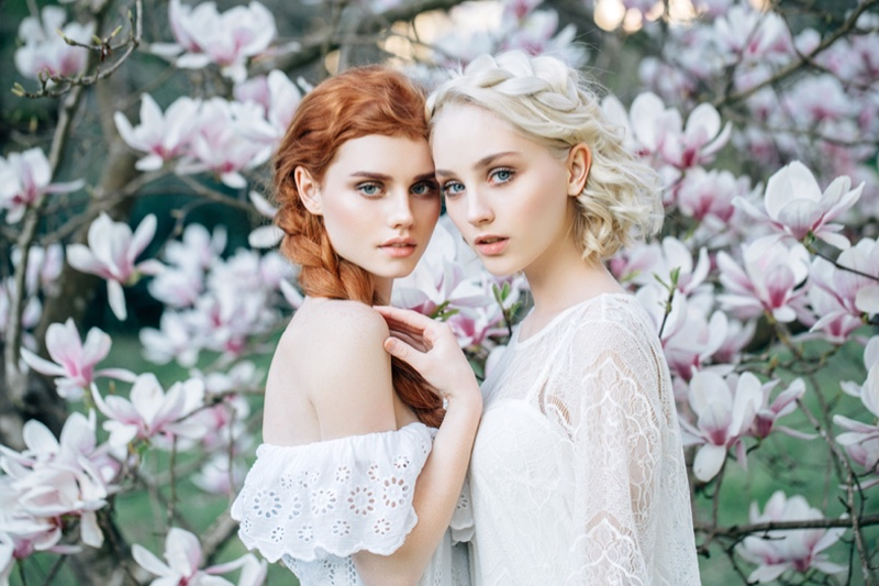Redhead and Blonde Model Flowers